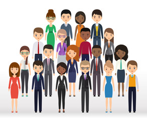 Icons business people flat silhouettes. Vector characters businessmen and businesswomen. Cartoon males, females isolated on white background.