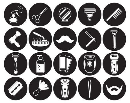Barber, Shoving icons set