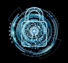 Digital padlock securing datas 3D rendering