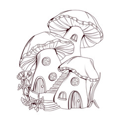 Coloring book: Mushroom houses fairy tale illustration