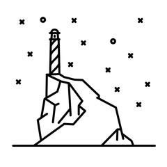 Flat line art lighthouse illustration