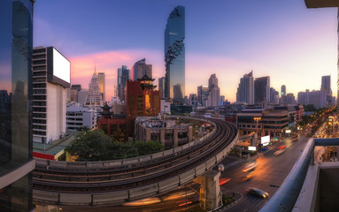 Bangkok Cityscape view in Business district with high building at dusk (Bangkok, Thailand)