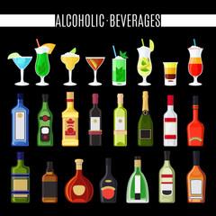 Alcoholic beverages icons set