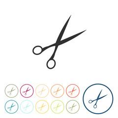 Runde Schaltflächen - Schere - Friseur