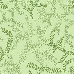 Floral pattern. Green leaves outline illustration. Seamless background