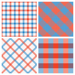 Set of Seamless Tartan & Checkered Plaid Patterns, Red, White and Blue.