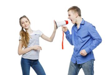 Brother screaming at sister