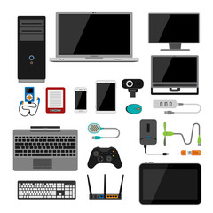 Electronic gadgets icons technology electronics multimedia devices everyday objects control and computer connection digital network vector illustration.
