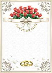 Wedding card invitation with a bouquet of flowers and rings