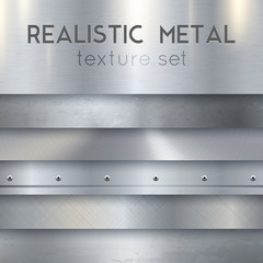 Papiers peints Metal Metal Texture Realistic Horizontal Samples Set