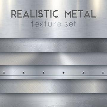 Metal Texture Realistic Horizontal Samples Set
