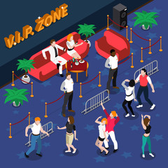 Celebrities In Nightclub Isometric Illustration