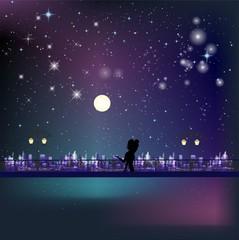 Spotkanie na moście nocą