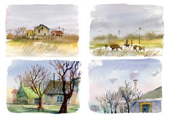 Rural landscape, cottages, goats, watercolor