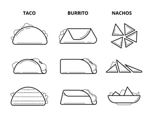 Mexican cuisine food. Taco, burrito and nachos eating snacks line vector set