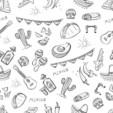 Traditional mexican food, mexico culture elements vector seamless pattern