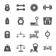 Weight scales, balance, heavy luggage, kilogram vector icons