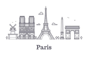 French architecture, paris panorama city skyline vector outline illustration
