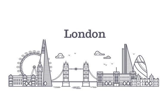 London city skyline with famous buildings, tourism england landmarks outline vector illustration
