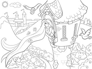 Princess Rapunzel in the stone tower coloring for children cartoon vector illustration