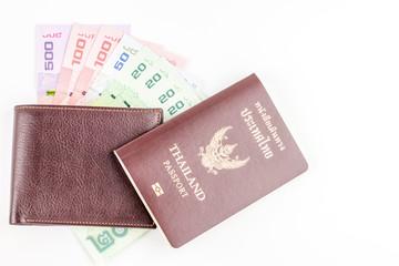 Thailand passport and Thai money and wallet.