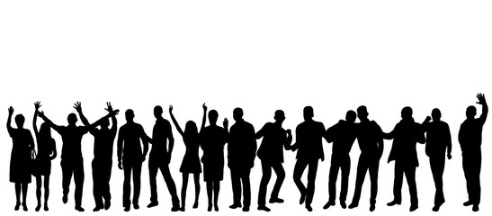 Vector, silhouette people are happy dancing, isolated