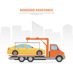 Cartoon banner roadside assistance. City skyline and tow truck with loaded car on the white background.