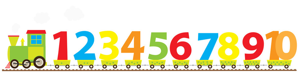 Learning cartoon train with numbers 1-10/ educational vector illustration for children