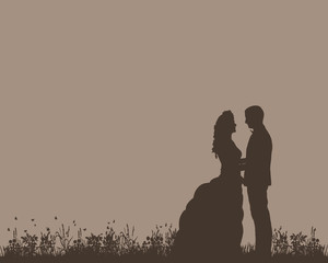silhouette of the bride and groom, postcard