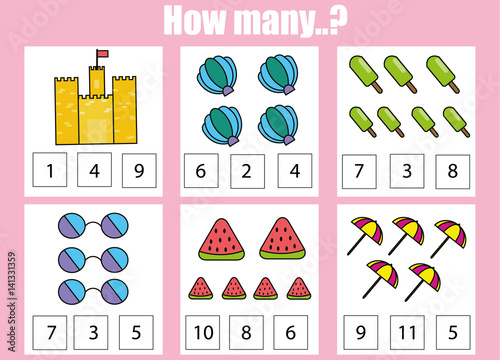 """Counting Educational Children Game, Kids Activity Worksheet. How Many Objects Task"" Stock Image"