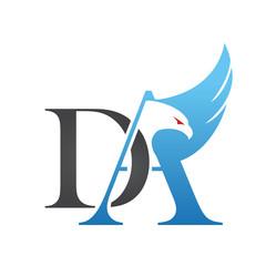 Logo Blue Hawk Wing Letter DA Icon