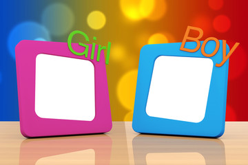 Photo Frames with Girl and Boy Signs. 3d Rendering