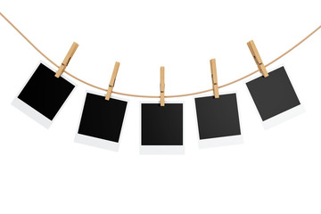 Photo Frames with Clothespins. 3d Rendering