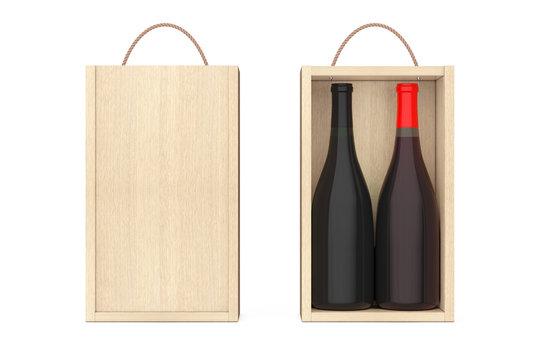 Wine Bottles in Blank Wooden Wine pack with Handle. 3d Rendering