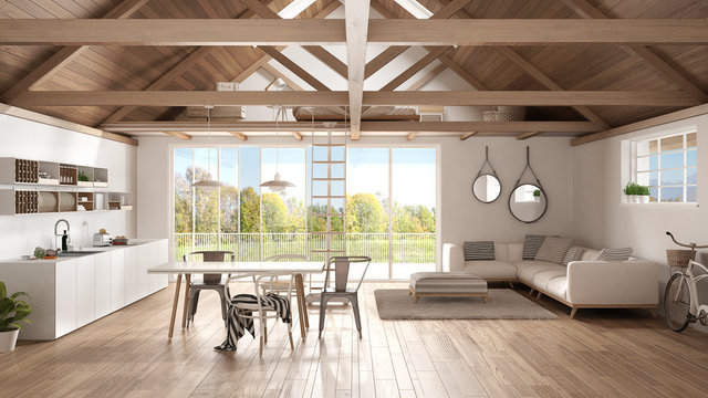 Minimalist Mezzanine Loft Kitchen Living And Bedroom Wooden Roofing And Parquet Floor Scandinavian Classic Interior Design With Garden Panorama Buy This Stock Illustration And Explore Similar Illustrations At Adobe Stock
