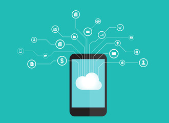 concept for internet of thing and data on cloud concept with mobile phone