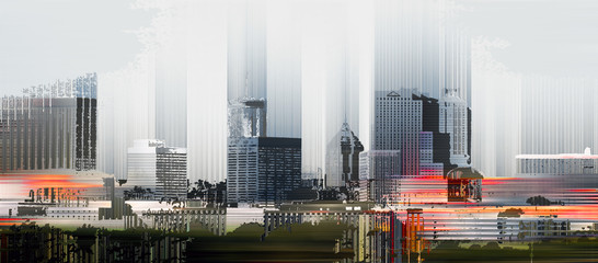 Skyline of Atlanta, Georgia, grafisch abstrakt (digital manipuliert)