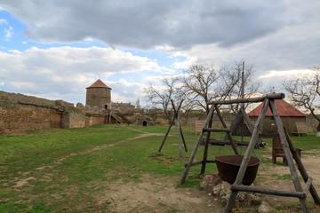 Old cauldron inside Akkerman fortress in belgorod, Odessa, Ukraine