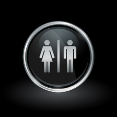 Gender symbol with male and female silhouette icon inside round chrome silver and black button emblem on black background. Vector illustration.