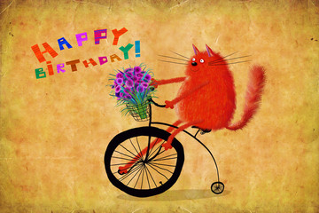Birthday Card Cat With Flowers Riding High Wheel