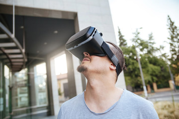 A Young Man Using VR