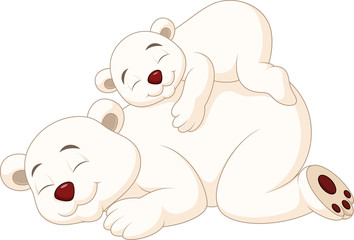 Cartoon mother and baby polar bear sleeping