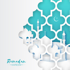 Ramadan Kareem. Origami Mosque Window. Holy month