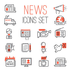 Journalism media hot tv news outline black communication and chat information online red icons communicate set microphone global vector illustration.