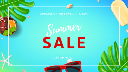 Summer sale web banner. Top view on sunglasses, seashells, fresh cocktail and ice cream on blue background. Vector illustration with leaves of tropical plant.