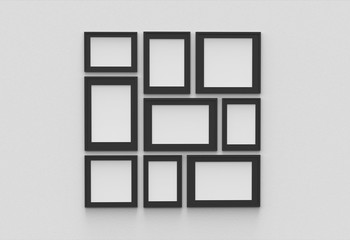 Picture frame isolated on white drywall background