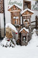 Christmas decorations. Under a heavy snowfall