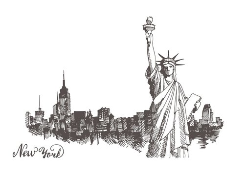 Sketch of the statue of liberty
