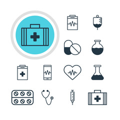 Vector Illustration Of 12 Medicine Icons. Editable Pack Of Flask, Medical Bag, Vial And Other Elements.