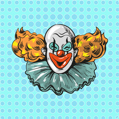 vintage clown pop art comic style poster illustration